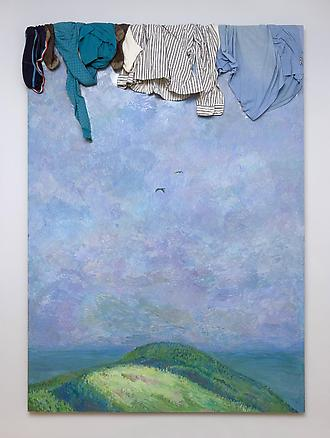 Landscape with Mountains 1989 clothes, oil on masonite 210 x 150 cm