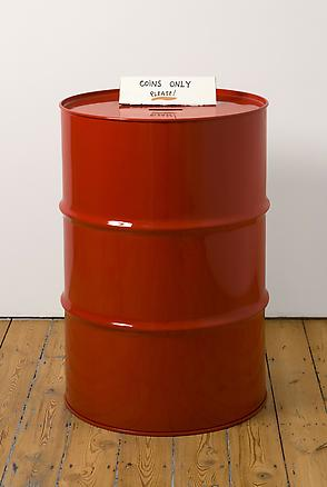 Coins Only 2010 a red oil drum 95 x 58 cm