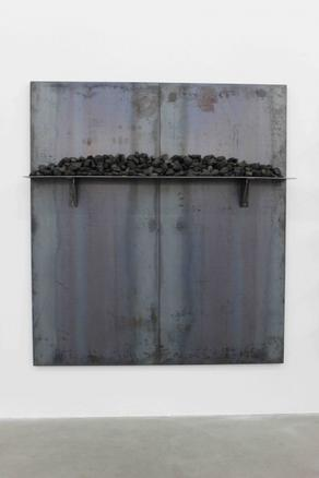 Untitled 2014 iron panel and coal 200 x 180 cm