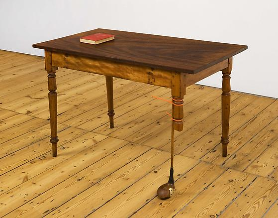 Second Life 2010 wooden table, wooden golf club, and a book 110 x 60 x 73 cm