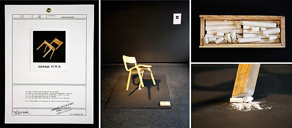 R=O 2009 chair, chalk, document, a square black board