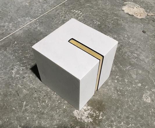 Cube (Ansichten eines Clowns), 2017 Statuario marble and 'Ainsichten eines Clowns' by Heinrich Böll 19 x 19 x 19 cm