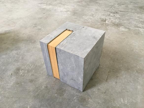 Cube (Capital) 2017 Pierre Bleue and 'Capital' by Karl Marx 22 x 22 x 22 cm