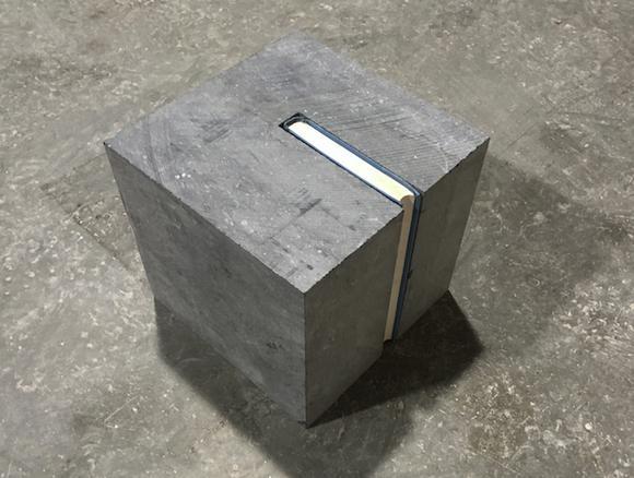 Cube (Gli Indifferenti), 2017 pierre blue and 'Gli indifferenti' by Alberto Moravia 21.2 x 21.2 x 21.2 cm
