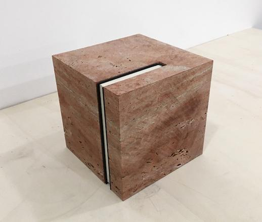 Cube (On the Natural History of Destruction), 2018 persian travertine and 'On the Natural History of Destruction' by Winfried G. Sebald 22.3 x 22.3 x 22.3 cm