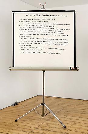 Joe David Screen 2010 black marker pen on projection screen 220 x 140 x 90 cm