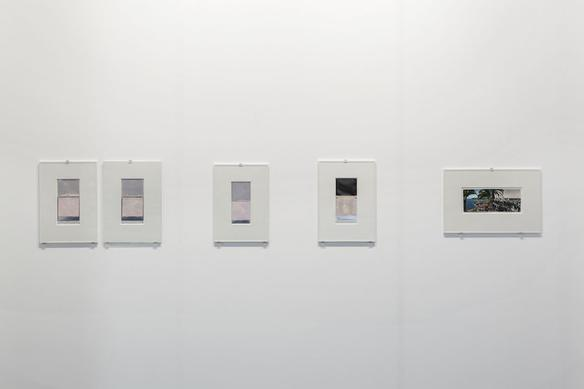 polaroid and postcard works installation view at Artissima, Turin 2015