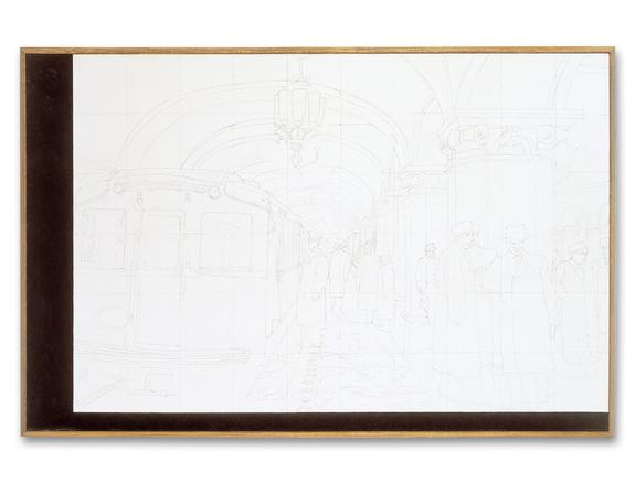 Ilya Kabakov: in the Moscow Metro, 1972 2002 graphite and oil on canvas 112 x 173 cm