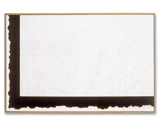 ilya kabakov: meeting of agronomists, 1972 2002 graphite and oil on canvas 112 x173 cm