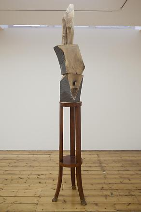 The Forest and Brancusi 2012 three walnut painted pieces, round wood table 280 x 50 x 40 cm