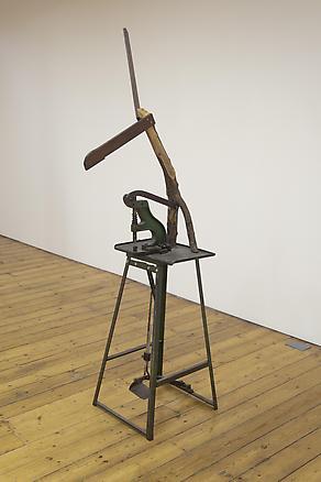 This Should Explain 2012 industrial machine, olive and tropical wood branches 210 x 65 x 70 cm