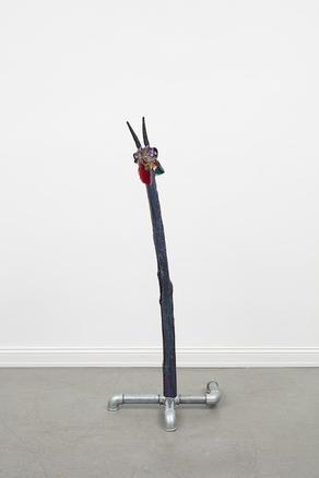 Jimmie Durham Ugly, 2017 bone, horn, Murano glass, wood, metal, auto paint, glue 131 x 51.5 x 50 cm