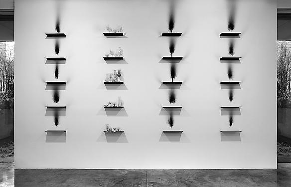 Metamorphosis, 2012 steel shelves, smoke, glass 343 x 554 cm exhibition view at Parasol Unit, London 2012
