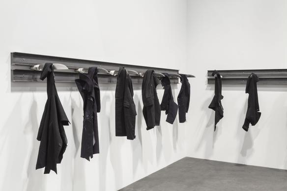untitled 2014 iron beams, knives and torn coats dimensions variable presented at Unlimited, Art Basel 2016
