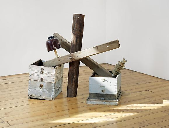 Micol Assaël Preferirei di no (I would Prefer Not) 2013 wood, ceramic insulators, beehives and sand 128 x 74 x 140 cm