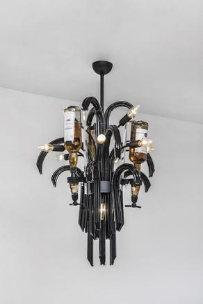 Luce dell'anima, luce dello spirito 2007 murano chandelier, spirits, spirit dispensers 127 x 65 cm