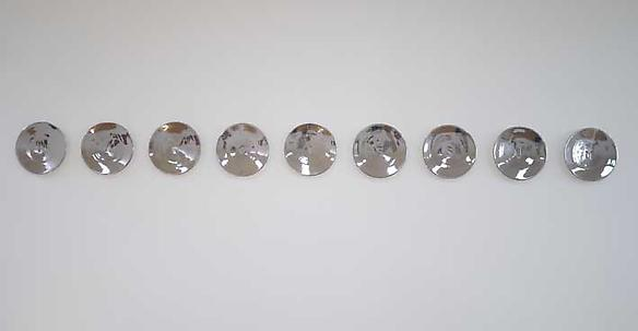 Narcissum 2009 9 perforated plates, ceramic and platinum 30 d cm