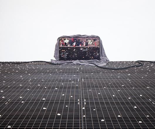 Nau 2017 video and blankets 43 min 52 sec in loop installation view at 57th venice biennale, 2017