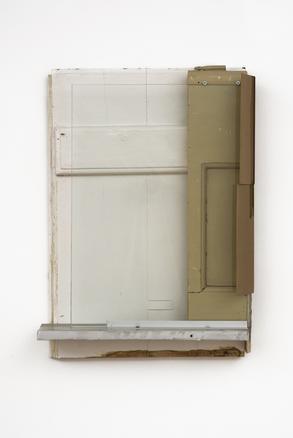 Pedro Cabrita Reis The Carpenter Suite #9, 2018 found wood, glass, cardboard, aluminium 64 x 45 x 13 cm