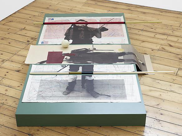 Seb Patane are we brothers in arms in brothers we are 2013 screenprint and pencil on printed paper, paint, wood, tape, leather 17,5 x 153 x 223 cm