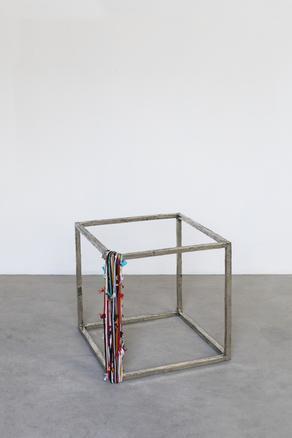 Cubo con perimetro, 2018 white bronze and strings 49 x 49 x 49 cm