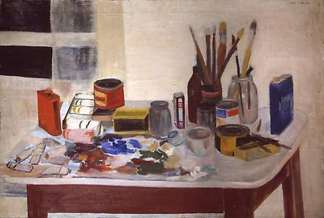 JANE FREILICHER The Painting Table 1954 oil on linen 26 x 40 inches Collection The Flow Chart Foundation