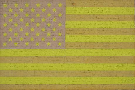 JOE BRAINARD AND TED BERRIGAN American Flag 1962 collage 12 x 16 inches Collection Ron and Patricia Padgett
