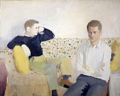 FAIRFIELD PORTER Jimmy and John 1957-58 oil on canvas 36 1/4 x 45 1/2 inches Private Collection