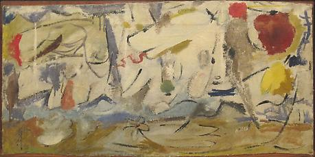 HELEN FRANKENTHALER Cloudscape 1951 mixed media on canvas 17 1/2 x 38 inches Collection of the artist
