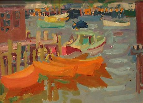 Dories, Gloucester 1963 oil on board 12 x 16 inches