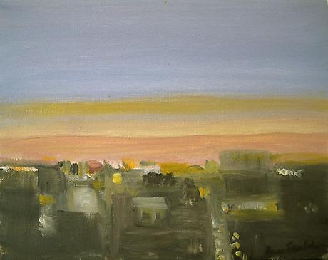 City at Twilight 2010 oil on linen 8 x 10 inches SOLD