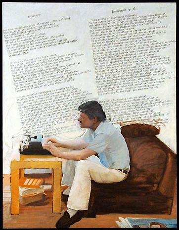 LARRY RIVERS Pyrography: Poem and Portrait of John Ashbery II 1977 acrylic on canvas 76 x 58 inches Collection of Kim Manocherian