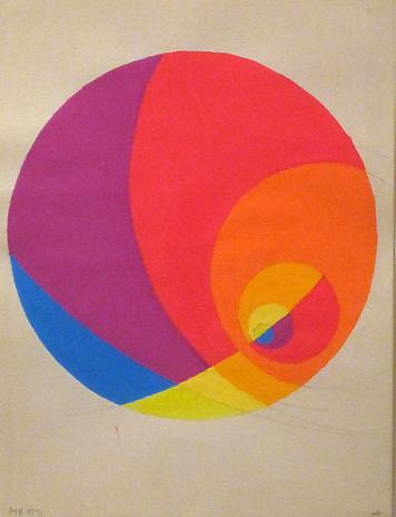 Herb Aach Studiy for Procession of the Equinox 1972 fluorescent paint on paper 12 x 9 inches