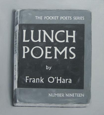 'Lunch-Poems' (Film Still Version) 2014 oil on board 16 x 14 1/4 inches