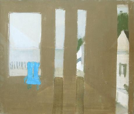 BIALA Untitled (View of Bay, Provincetown) c.1965 oil with collage on canvas 15 x 18 inches
