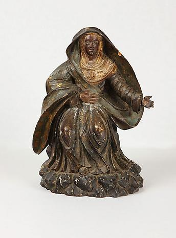 Artist Unknown Madonna c. 18th Century painted wood carving 13 1/2 x 9 x 7 inches