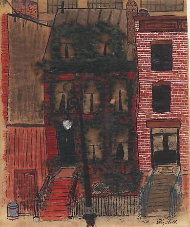 Elizabeth Bishop 43 King Street nd watercolor, gouache and ink on paper 8 1/4 x 6 3/4 inches