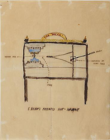 Elizabeth Bishop E. Bishop's Patented Slot Machine nd watercolor 10 x 8 inches PRIVATE COLLECTION