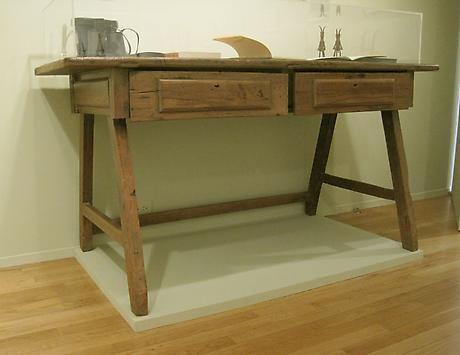 Elizabeth Bishop's large rustic Brazilian desk 30 x 64 x 24 inches