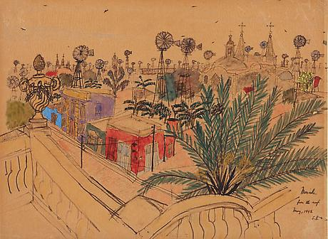 Elizabeth Bishop Mérida from the Roof 1942 watercolor, gouache and graphite on paper 8 1/2 x 11 1/2 inches