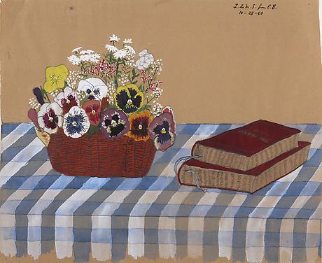 Elizabeth Bishop Pansies 1960 watercolor, gouache and graphite on paper 12 1/4 x 15 1/8 inches