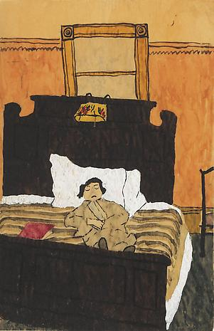 Elizabeth Bishop Sleeping Figure nd watercolor and gouache on paper 8 1/2 x 5 1/2 inches