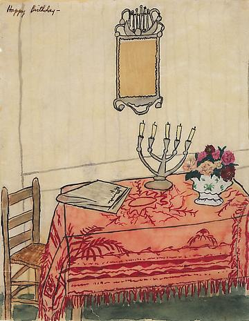Elizabeth Bishop Table with Candelabra nd watercolor, gouache and ink on paper 7 1/2 x 5 7/8 inches