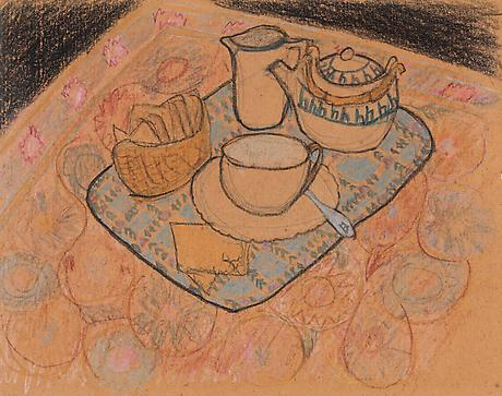 Elizabeth Bishop Tea Service nd crayon and graphite on paper 8 x 10 inches
