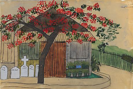 Elizabeth Bishop Tombstones for Sale nd watercolor, gouache and ink 6 x 9 inches PRIVATE COLLECTION