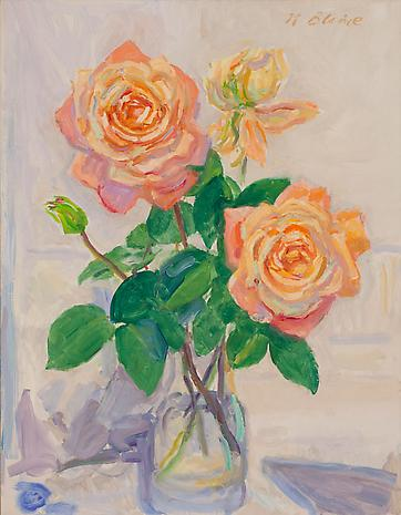 Blizzard-Roses 1991 oil on canvas  27 x 21 inches