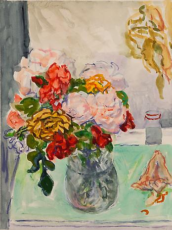 Eric's Roses 1991 watercolor and unfixed pastel 16 x 12 inches