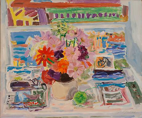 Flowers and Postcards 1977 oil on canvas 20 x 24 inches