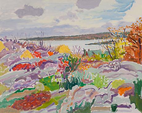 Rocks and Outer Harbor 1981 oil on canvas 32 x 40 inches SOLD