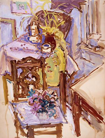 NELL BLAINE Studio Interior, Yaddo 1957 oil on paper mounted on panel 46 x 35 inches